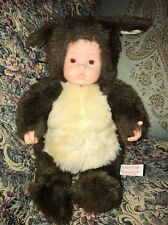 "ANNE GEDDES LARGE 14"" STUFFED PLUSH BROWN SQUIRREL BABY DOLL 1998 #2A"