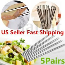 5 Pairs Stainless Steel Anti-skip Chopsticks Stick Gift Set (10 Chop sticks)