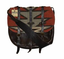 Ralph Lauren RRL Distressed Leather Wool Indian Blanket Messenger Bag New $995