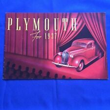 PLYMOUTH FOR 1937 - DEALERSHIP BROCHURE