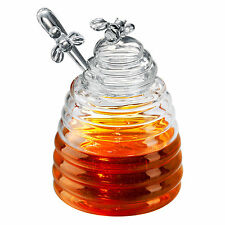 Artland Glass Honey Pot Jar with Dipper Drizzler Storage Container Bee Gift Box