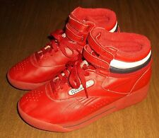 Vintage Women's Reebok Classic High Tops Shoes Sneakers - Red Black & White Used