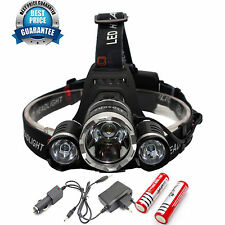 Camping Hunting Hiking 8000Lm 3x Cree XM-L T6 LED Headlamp Headlight Head Torch