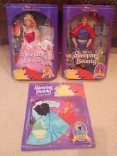 Disney Mattel - Sleeping Beauty, Prince Phillip Dolls & Peasant Dress -New & MIB