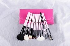 IB 'Essential- You're Worth It' 11pc Piece Luxury Pink Goat Hair Brushes Chrome