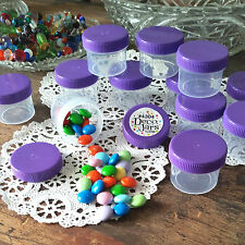 30 Plastic Small Jars Container Shreds 2 Tblsp Herbs Purple Caps #4304 DecoJars