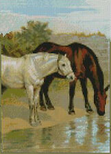 "Horses Water Complete Counted Cross Stitch Kit 7"" x 10"""