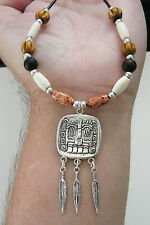 "AZTERC GOD NECKLACE Azrtec Tibet Silver Feathers BONE & WOOD Beads 23""-25"" NEW"