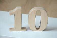 1-10 Small Wooden Numbers, Free Standing Table Numbers for Wedding, Cafe