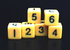 New Set of 6 Numbered Six Sided D6 Dice - Opaque Yellow – 16mm RPG Polyhedral