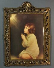 Vintage Praying Girl Print In Ornate Metal Frame Bubble Glass Made in Italy