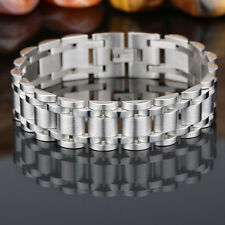 """Men's Cool Stainless Steel Silver Curb Link Chain Bracelet Bangle 8.66"""" 17mm"""