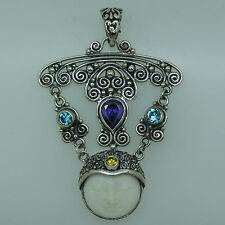 Artisan Crafted Bali Goddess Gemstone pendant (55x38 mm) in 925 Sterling Silver