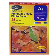 SUMVISION GLOSS ADHESIVE A4 INKJET PRINTER PHOTO PAPER 135GSM 25 SHEET PACK