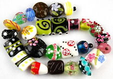 26pcs MIX FLOWER HANDMADE LAMPWORK GLASS BEADS LOOSE RONDELLE SPACER CRAFT (m12)