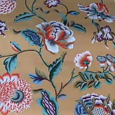 Vintage Wallpaper Floral Gold Teal Orange Flowers Handprint Clarence Hse LAST 4!