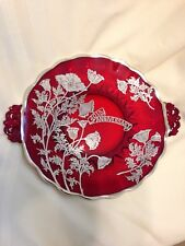 Vintage 40th Anniversary Ruby Red Plate Glass Silver Overlay Handled