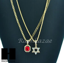 MICRO RED RUBY & SIX POINTS STAR OF DAVID ROPE CUBAN CHAIN NECKLACE SET KN006