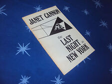 Janet Cannon THE LAST NIGHT IN NEW YORK 1st 1984 - Voices In The Wind Poetry
