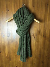 GAP LAMBSWOOL & CASHMERE LARGE CHUNKY SCARF Khaki Dark Green Cable Knit - VGC