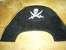 "pirate captain's hat 15"" wide X 10"" high one size fits most black with skull & c"