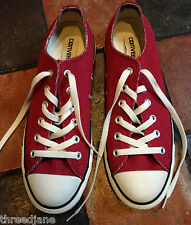 RARE Brand New Red Woven Herringbone Lining Converse Trainers Low Tops - UK 7