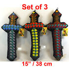 Set of 3 x Pixel Swords 15 Inch / 38 cm Plush Soft Toy NEW CE Marked -UK Seller