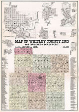 1865 Farm Line Map of Whitley County Indiana Columbia City