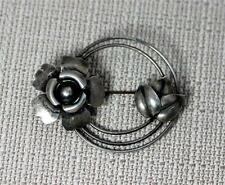 "Vintage Sterling Silver Flower and Leaf Brooch Pin 2.5"" – 8304"