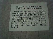 ephemera 1966 sussex engagement j philps miss e f pelham burn petworth