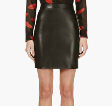 Saint Laurent YSL Black Lambskin Leather High Rise Waist Mini Skirt Size 34