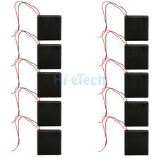 "Lot 10 Pcs New 4X AA/2A Battery 6V Holder Box Case Switch 7""Leads Wire Black US"