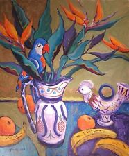 "NEW YVONNE AULD ORIGINAL ""Happy in Paradise"" Still Life Parrot Fauvism PAINTING"