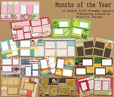 Set of 12 Double Page Premade Scrapbook Layouts - Months of the Year