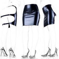 Faux Leather Skirt Open Hip Soft Sexy Lingerie Tight Bondage Dress For Women #JK