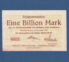 SWINEMÜNDE Świnoujście 1 Billion Mark 1923 Kreis Usedom-Wollin  II+ / XF+