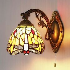Tiffany Dragonfly Pattern Stained Glass Wall Sconce Single Lamp Indoors Light