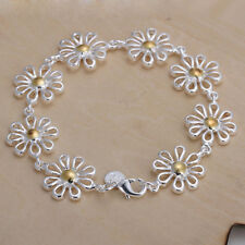 New Fashion Women 925 Silver Gold Plated Daisy Flower  Chain Bracelet Jewelry