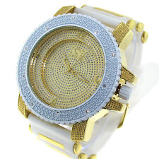 MENS ICED OUT ICE NATION GOLD/WHITE HIP HOP WATCH WITH BULLET BAND