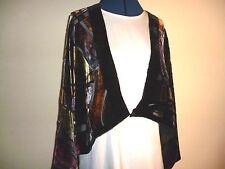 Velvet devore short jacket Black/gold/red/tan/grey abstract design Freesize NEW