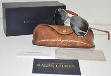 Ralph Lauren Silver Brown Leather Aviator Sunglasses RL 7045KQ 9263/40 58mm BNIB