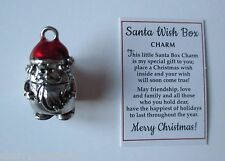 a SANTA WISH BOX prayer Charm pendant pocket figurine opens hold message Ganz