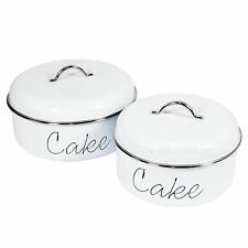 Set of 2 Assorted Retro Round White Enamel Cake Biscuit Storage Tins Containers