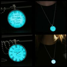 Stainless Steel Chain Vintage Clock Cherish Time Glow In Dark Pendant Necklace