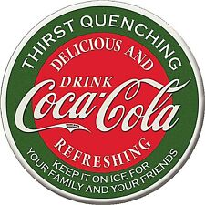 Coca Cola Thirst Quenching round fridge magnet      (de)