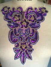 "9"" FANCY Bead & Iridescent Sequin Neckline Applique - PURPLE & GOLD"