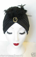 Black & Gold Feather Turban Vintage 1920s Cloche Hat 1930s Headpiece Flapper N18