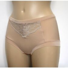 M & S Sze 12 NO VPL Slinky Lace detail shorts briefs knickers panties Nude