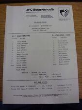 02/08/1986 V Birmingham City [amigable Bournemouth] (única hoja, plegado). Trus