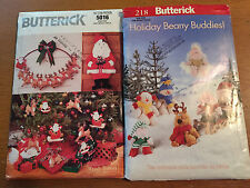 2 VTG Butterick Christmas Sewing Patterns UNCUT Santa Reindeer Ornaments 5016